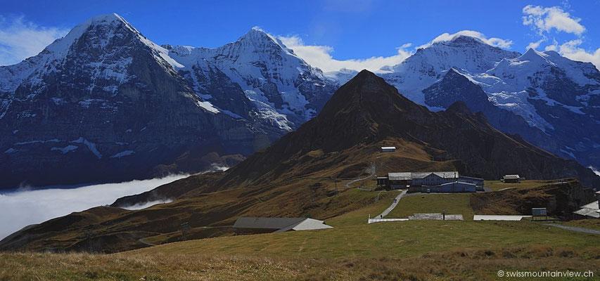 Wir steigen hinauf Richtung Gipfel - Blick zurück Richtung Tschuggen und Eiger, Mönch und Jungfrau.