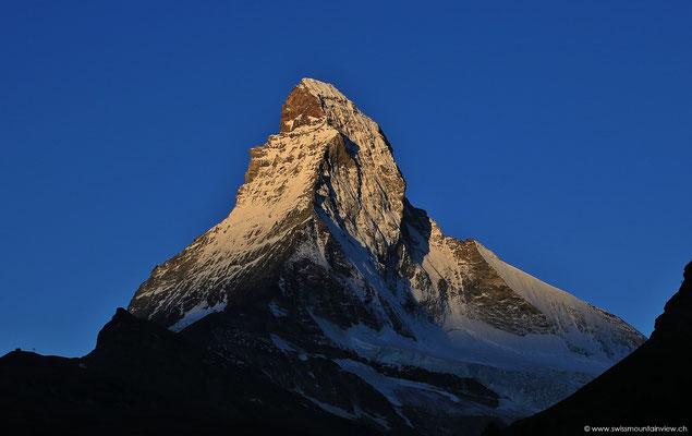 Ein seltener Anblick im Sommer 2014 - wolkenloser Himmel - und dies mit Blick aufs Matterhorn.