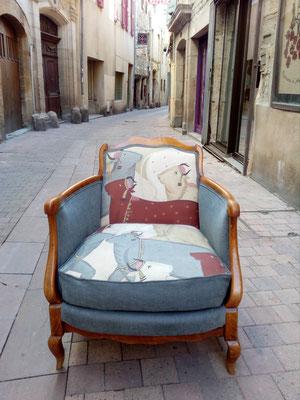 fauteuil bergère tapissier décorateur Millau Au Petit Crin