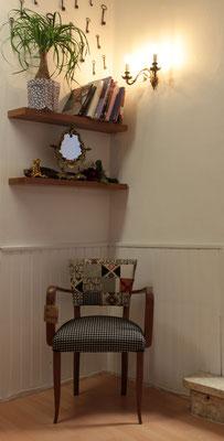 fauteuil bridge dossier patchwork, tapissier décorateur Millau Au Petit Crin