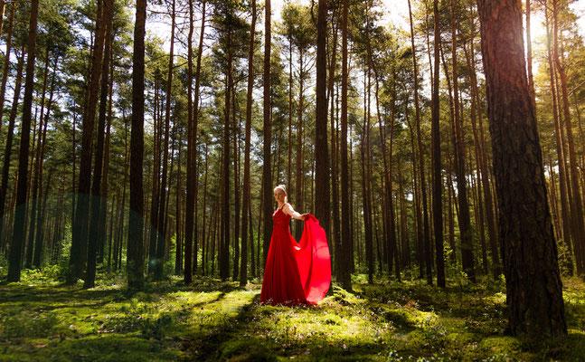 Märchen Fotoshooting im Wald mit Frau aus Nürnberg traumhaft schön - Erlangen Fotograf