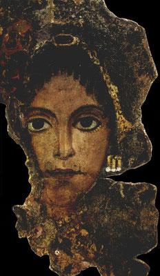 Een 2000 jaar oud portret van een Romeinse dame uit Egypte met de 'crotalia' oorbellen
