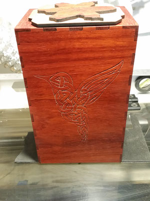 Padauk Tarot box with Celtic hummingbird