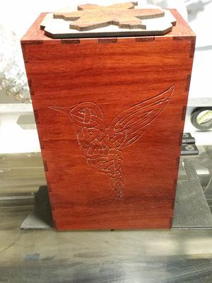 Padauk Enigma box with Celtic hummingbird