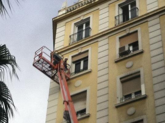 trabajos con elevador fachada