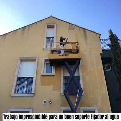 trabajo imprescindible en fachadas exteriores con fijador