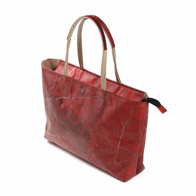 Shopper SELVA aus Teakblättern von WOLA in rot