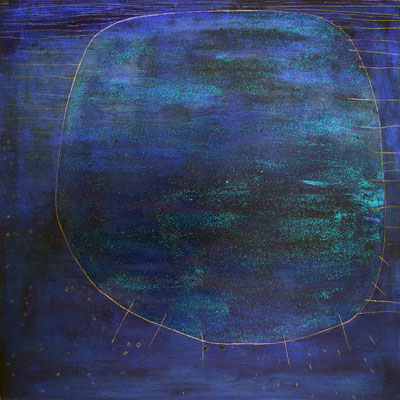 The B.H.T.  - Blu Planet, 2012, acrylic, marble, resin, gold on canvas, 90 x 80 cm