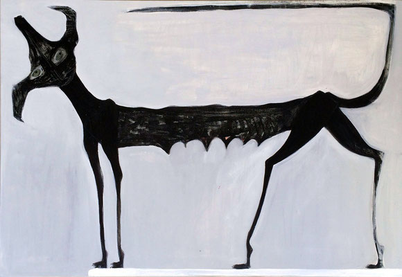 Perra Negra Sobre Trampolin, acr. s/lienzo, 116x81 cm, 2014