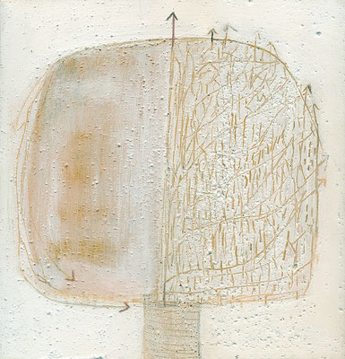 The Beautiful Healing Tree - in the Snow Storm III, 2014, mixed media on canvas, 24 x 25 cm