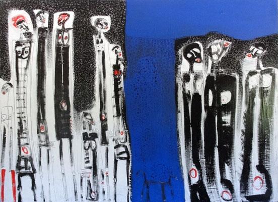 Blu Rain, acr. s/lienzo, 89x 116 cm,