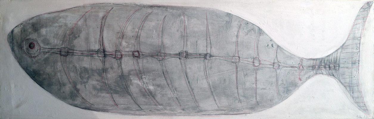 Pez plateado sobre hielo, 40x140 cm