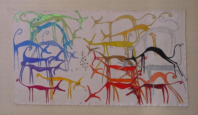 23 podencos y algunas hormigas, acr. s/lienzo, 90x150 cm, 2002