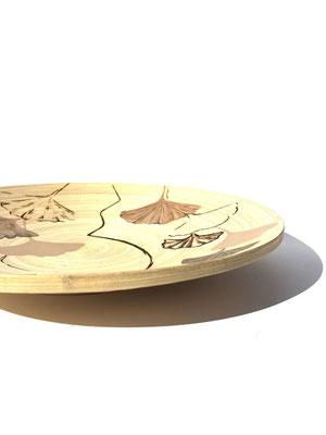 Pirogravura e acrílico s/ madeira