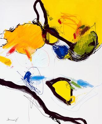 Insel, gelbgrünblau _ 110 x 90 cm