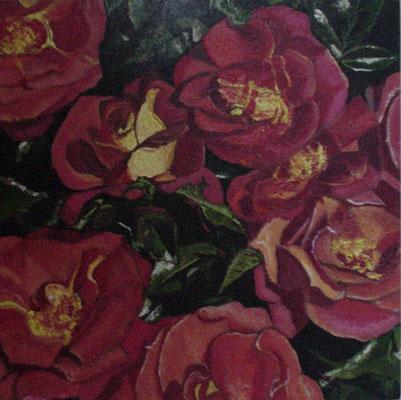 """""""Rose"""" Tempera auf Holzkasten, lackiert, 22x22 verkauft"""