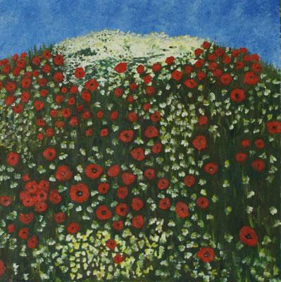 """""""Mohnwiese"""" Öl auf Leinwand,  100x100, 1991 verkauft"""