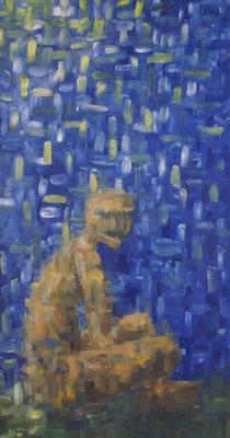 """""""Figur sitzend"""" Öl auf Spannplatte, 73x138, 1993 Preis auf Anfrage"""
