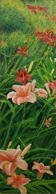 """""""Taglilie"""" Tempera auf Holzkasten, lackiert, 22x78 Preis auf Anfrage"""