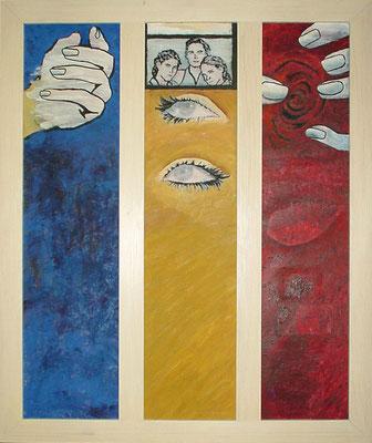 """""""Sinneswelt"""" Kollage & Öl auf Spannplatten 75x90, 1998 Preis auf Anfrage"""