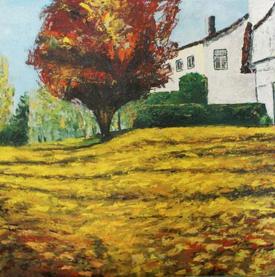 """""""Roter Baum"""" Öl auf Leinwand,  70x70, 2010 Preis auf Anfrage"""
