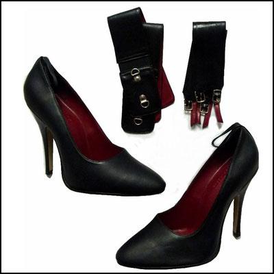 Schwarze Heels, in drei Varianten tragbar