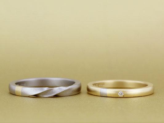 イエローゴールドとホワイトゴールドを使用し、2本のリングで一部を交換。表面はマットな仕上げです。