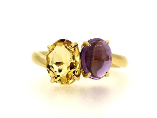 2つのジュエリーに使われていた石を、一本のリングに。