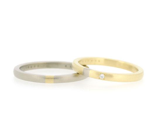 ホワイトゴールドとイエローゴールドのマリッジリング。お互いのリングの一部分を交換しています。
