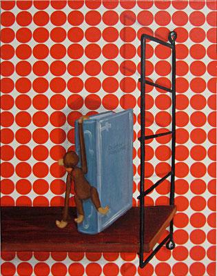Stilleben mit Affe (monkey on ones back) _ Öl / Bleistift auf Tapete / Leinwand | 55x43cm, 2012