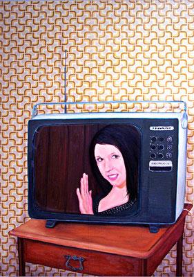 Moni im TV _ Öl auf Tapete / Leinwand | 130x90cm, 2010