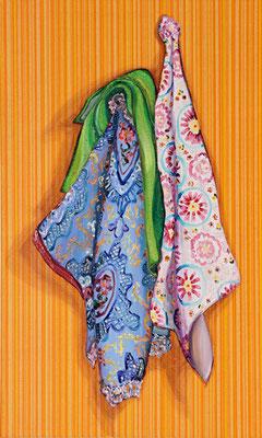 Stilleben mit Geschirrtüchern _ Öl auf Tapete / Leinwand | 100x60cm, 2010