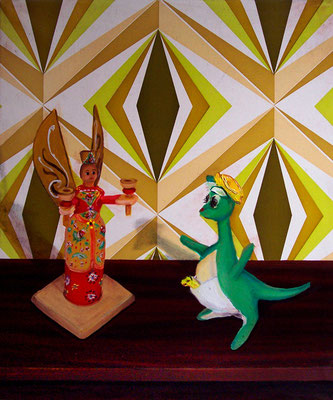 Arrangement _ Öl auf Tapete / Folie auf Leinwand | 50x40cm, 2010