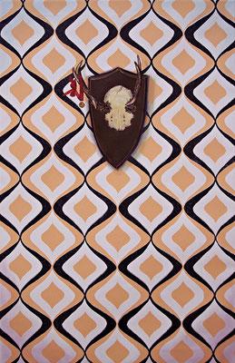 Stilleben mit Beziehung 2b _ Öl auf Siebdruck / Leinwand | 94x60cm, 2009