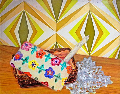 Stilleben mit Spargel _ Öl auf Tapete / Folie auf Leinwand | 40x50cm, 2011