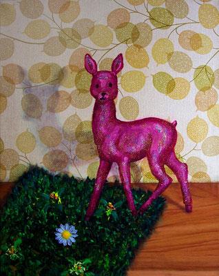 zwecks Idylle _ Öl auf Tapete / Folie auf Leinwand + Plastikblume | 50x40cm, 2010