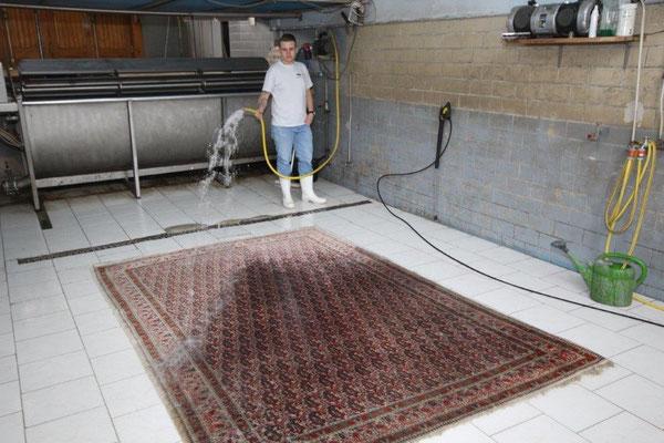 Waschen der Teppiche bei nichtfärbenden Teppichen in der Waschkufe und bei Orientteppichen direktes Waschen. Diese werden mit Essigwasser abgegossen und mit einem Waschmittel mit der Drei-Scheibenmaschine shampooniert. Fransen werden gesondert behandelt.