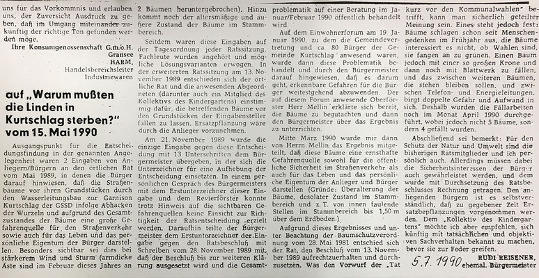 Lindensterben, 5.7.1990