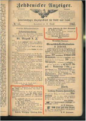 Beförderung von Post, 22.8.1867