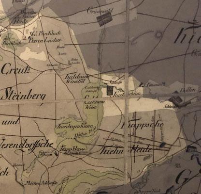 Kurtschlag auf einer alten Landkarte (Detail).