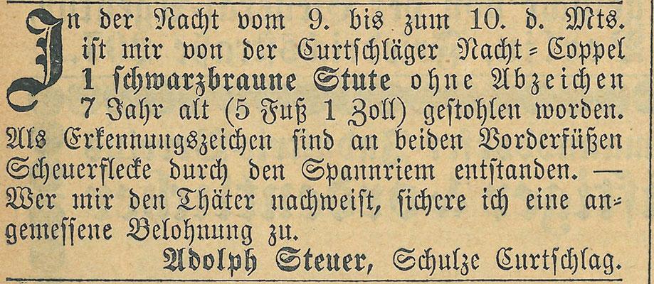 Steuers Stute gestohlen, 13.8.1873