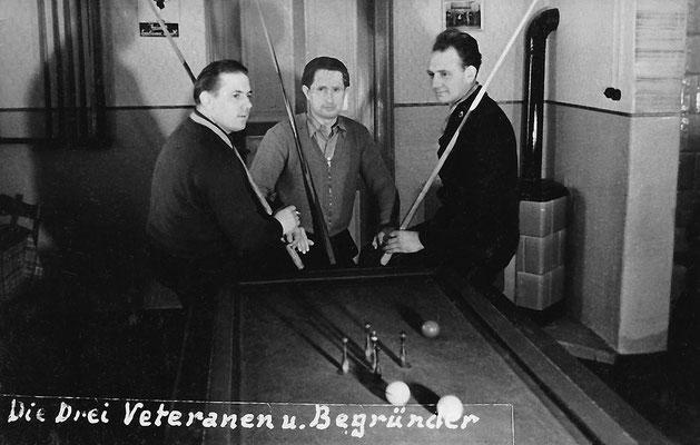 (0350) Billard in der Gaststätte; v.l.n.r.: Herbert Giese, Herbert Kulicke, Heinz Schäfer