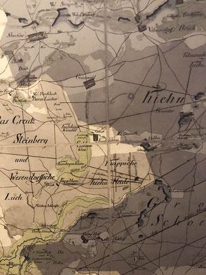 Kurtschlag auf einer alten Landkarte.