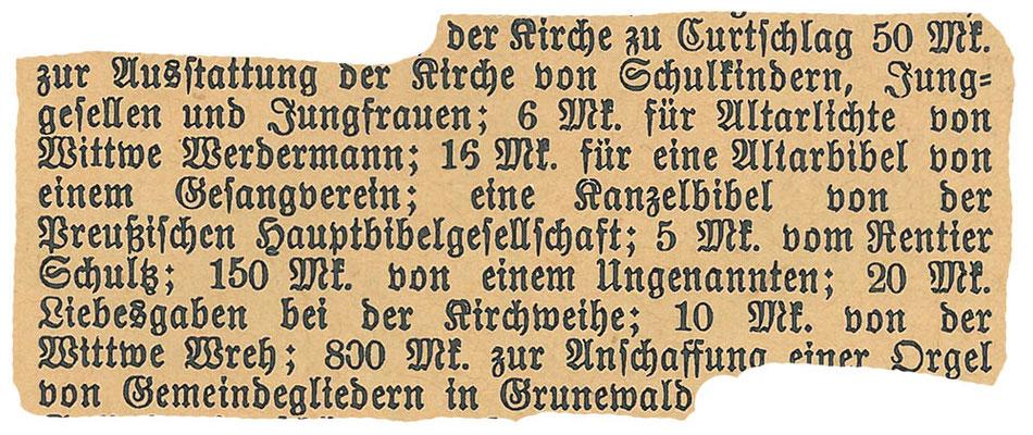 Spenden für die Kirche, 2.12.1891