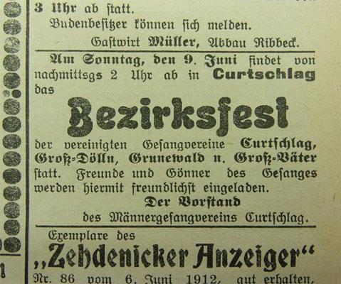 Bezirksfest der Gesangsvereine, 9.6.1912