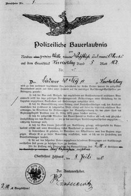 (0401) Polizeiliche Bauerlaubnis für das Haus der späteren Gaststätte Ney, 1910