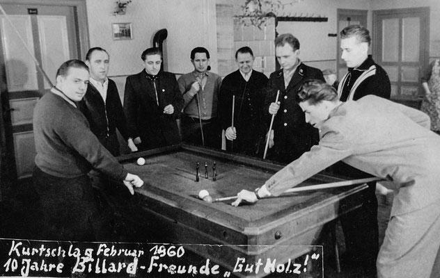 """(386) Gaststätte Ney, 10 Jahre Billard-Freunde """"Gut Holz"""", 1960"""