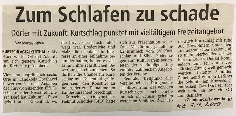 7.4.2009 Gransee-Zeitung