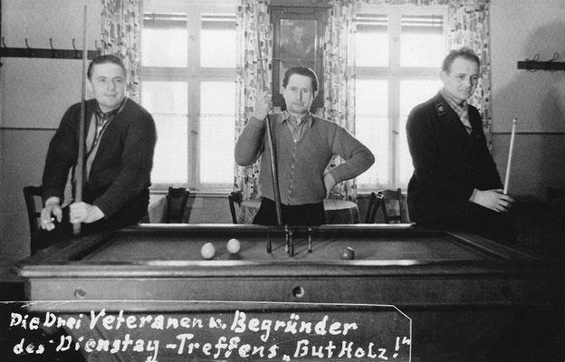 (0500) Billard in der Gaststätte; die Gründer der Billardfreunde waren v.l.n.r. Herbert Giese, Herbert Kulicke, Heinz Schäfer