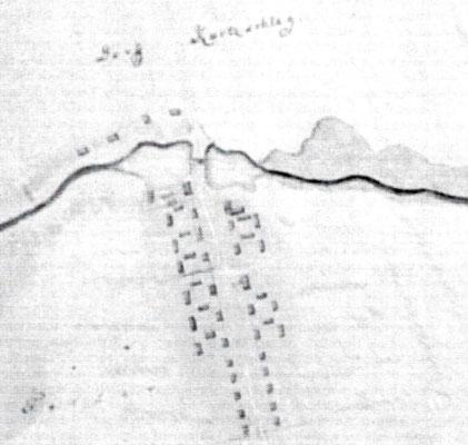 Dorfskizze von Kurtschlag einige Jahre nach der Gründung